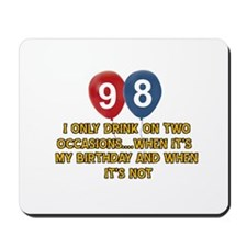98 year old birthday designs Mousepad