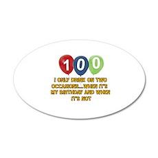 100 year old birthday designs 20x12 Oval Wall Deca