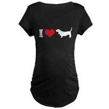 I Heart Basset Hounds Maternity T-Shirt