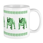 Green Bulldog Mug With Green Border