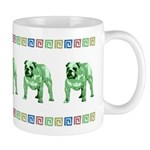 Green Bulldog Mug With Border