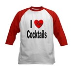 I Love Cocktails (Front) Kids Baseball Jersey