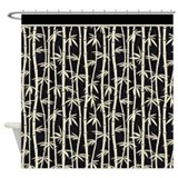 Black Cream Bamboo Forest Shower Curtain
