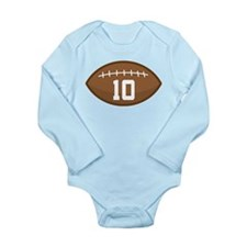 Football Player Number 10 Long Sleeve Infant Bodys