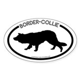 &quot;Border Collie&quot; White Oval  Aufkleber