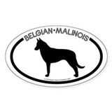 &quot;Belgian Malinois&quot; White Oval Decal
