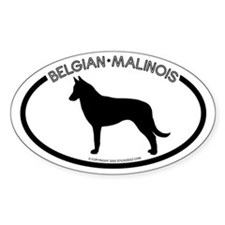 """Belgian Malinois"" White Oval Decal"