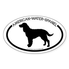 """American Water Spaniel"" White Oval Decal"