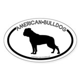 """American Bulldog"" White Oval Decal"