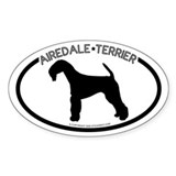 """Airedale Terrier"" White Oval Decal"