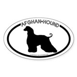 """Afghan Hound"" White Oval Decal"