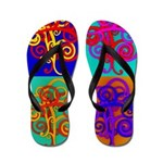 Flip Flops Color Collage of Swirl Designs