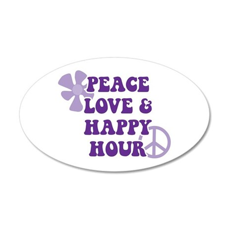 Peace Love and Happy Hour Wall Decal