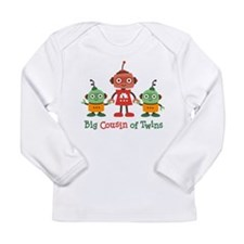 Big Cousin of Twins - Robot Long Sleeve Infant T-S