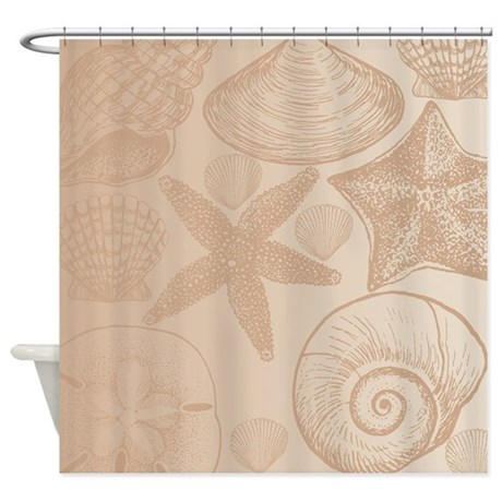 Peach shells shower curtain by be inspired by life for Peach bathroom accessories