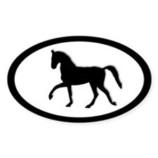 Cantering English Horse Oval Decal