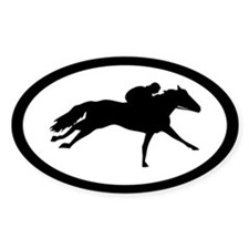 Racehorse thoroughbred Oval Decal