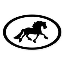 Friesian Horse Oval Decal