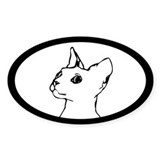 Siamese or Rex Cat Oval Decal