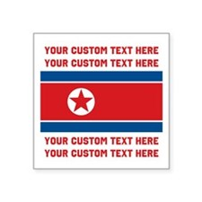 CUSTOM TEXT North Korea Flag Sticker