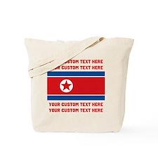 CUSTOM TEXT North Korea Flag Tote Bag