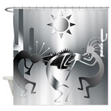Silver Desert Kokopelli Shower Curtain
