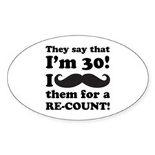 Funny Mustache 30th Birthday Decal