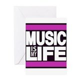 music is my life pink Greeting Card