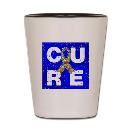 Cure Autism Cube Shot Glass