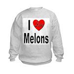 I Love Melons (Front) Kids Sweatshirt