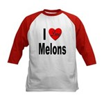 I Love Melons (Front) Kids Baseball Jersey