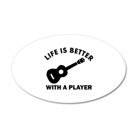 Ukulele Designs 20x12 Oval Wall Decal