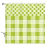 Spring Green Gingham Shower Curtain