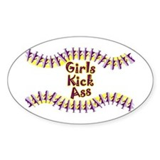 Girls Kick Ass Oval Decal