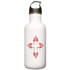 Ornate Red Gothic Cross Water Bottle