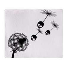 Skull Dandelion Seeds Throw Blanket