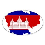 Cambodia Map Flag Oval Decal