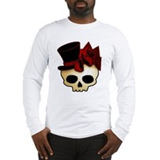 Cute Gothic Skull In Top Hat Long Sleeve T-Shirt