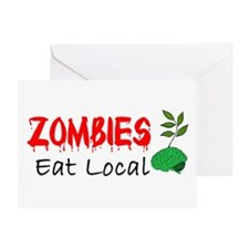 Zombies Eat Local Greeting Card