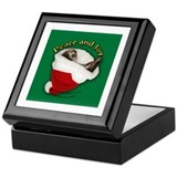 Ferret Santa Hat Keepsake Box