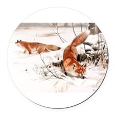 Red Fox in the Snow Round Car Magnet
