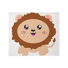 Cute cartoon lion Throw Blanket