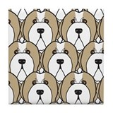 Fawn Bearded Collies Tile Coaster