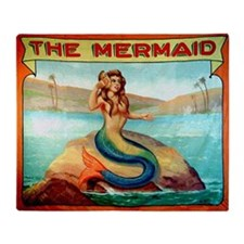Vintage Mermaid Carnival Poster Throw Blanket