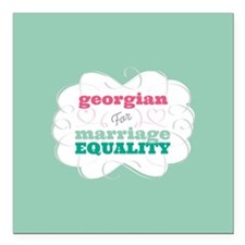 "Georgian for Equality Square Car Magnet 3"" x 3"""