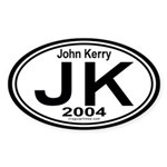 John Kerry 2004 Auto Oval Sticker
