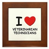 I Love veterinarian technicians Framed Tile