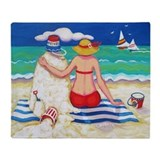 Mr Sandman Beach Seashore Throw Blanket