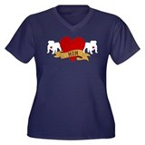 English Bulldog Mom Women's Plus Size V-Neck Dark