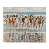 Vintage Women Running Beach Retro Throw Blanket